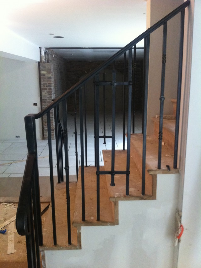 Basement Railing, punched and riveted design