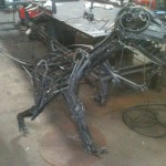 Scrap metal velociraptor, life size.